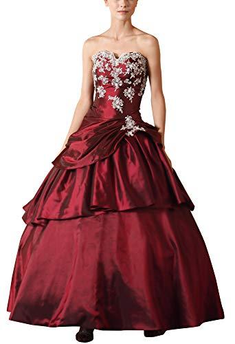 Romantic-Fashion Damen Ballkleid Abendkleid Lang Brautkleid Modell E615-E619 A-Linie TAFT Perlen Pailletten DE Rot Größe 42