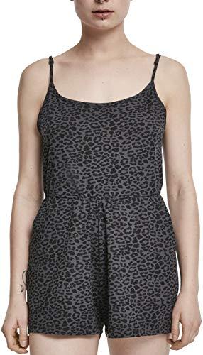 Urban Classics Damen Ladies Animal Short Spaghetti Jumpsuit, Mehrfarbig (Darkgrey Leo 02100), X-Small (Herstellergröße: XS)