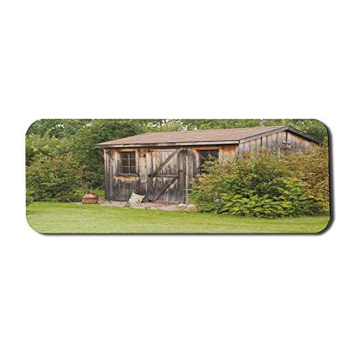 Ländliche Computer-Mauspad, rustikale alte charmante Haus-Holzscheune im ländlichen Gartenschuppen-Holzlandschaft, rechteckiges rutschfestes Gummi-Mauspad großer lindgrüner Kakao