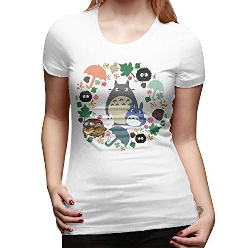 WEIYE Neighbor Totoro Wreath - Catbus, Soot Sprite, Umbrella Women Short Sleeve T Shirt Casual Tee White