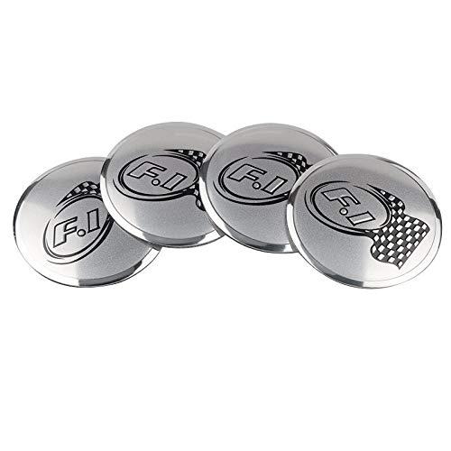 Tapas Para Llantas Estilismo de automóviles 56mm Aluminio F1 Logotipo de carreras Centro de ruedas de automóvil Cap Cap Etiqueta Etiqueta Etiqueta de insignia Emblema Compatible con Fiat Audi BMW Hond