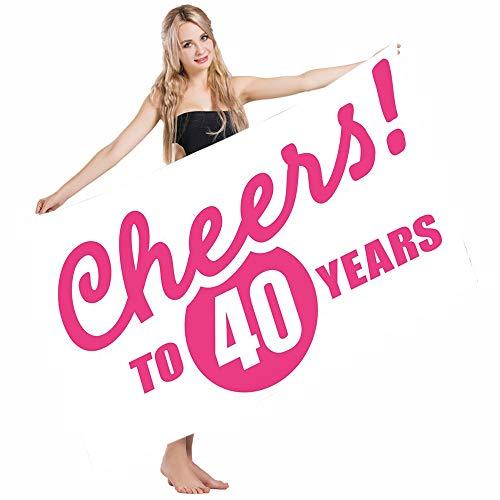 Mugod Beach Towel Bath Towels 40th Birthday Cheerful Happy Mood Greeting Icon Hand Writing in Hot Pink Color Yoga/Golf/Swim/Hair/Hand Towel for Men Women Girl Kids Baby 64x32 Inch
