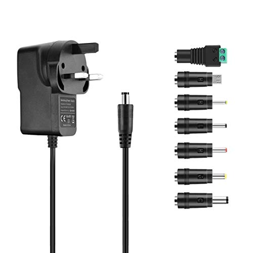 5V 2A Power Supply Adapter, aifulo Universal AC to DC Adapter with 7 Tips DC Plug Adapters AC Charger for LED Strip Lights,CCTV Cameras, TV Box,Router,Speakers,ADSL Cats,HUB,Android Tablet and More