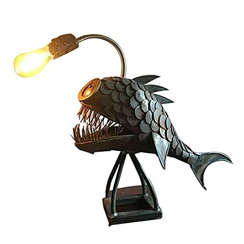 Kreative Handgemachte Metall Angler Fisch Lampe Lächeln Mund, Hai Lampe, Tiefsee Laterne Fisch Lampe, Schlafzimmer Beleuchtung Usb Led Licht Marine Leben Tierlicht Desktop Dekor Lampe-8.7In*5.9In