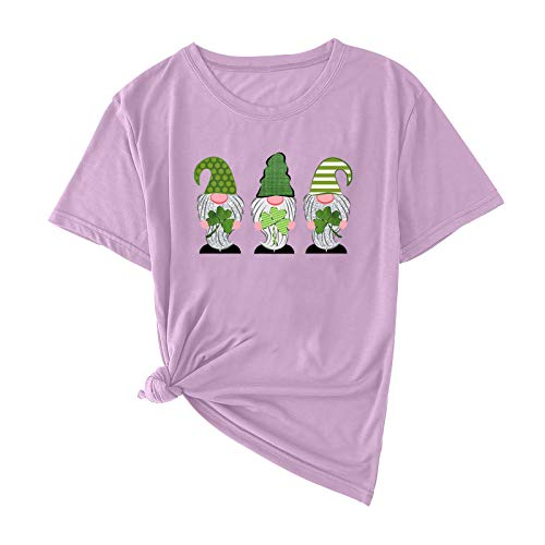 MAYBEcuy Women's St Patrick's Day T Shirt Short Sleeve Crewneck Tops T-Shirts Casual Green Gnomes Print Pullover Tees