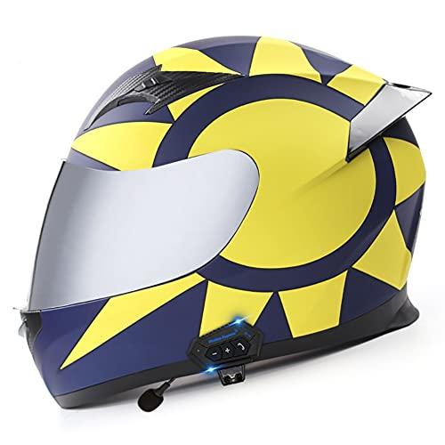 Casco Moto Integral con Doble Visera Anti Vaho, Casco Moto Bluetooth Incorporado ECE Aprobado, Cascos de Motocicleta Reducción Ruido para Mujeres Hombres 59~62cm