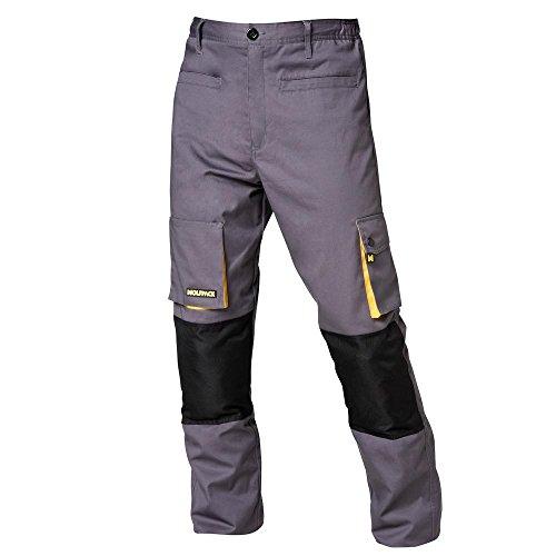 Wolfpack 15017085 Pantalon de Trabajo Gris/Amarillo Largo Talla 38/40 S