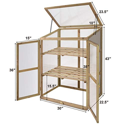 HAPPYGRILL Greenhouse Wooden Cold Frame Garden Greenhouse (30