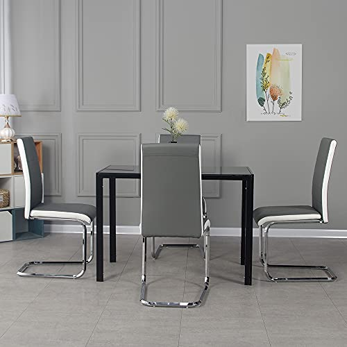 Panana Modern Gorgeous Glass Dinning Table with 4pcs Gray Faux Leather Dining Chairs High Back and Chrome Legs Table Chairs Set (105cm Black Table+4 Chairs)