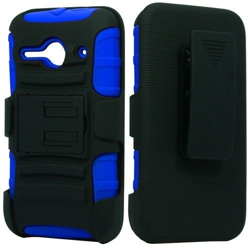 FastSun Holster + Hybrid Case Phone Cover for Alcatel Onetouch Pixi PULSAR LTE A460G (Black-Blue)