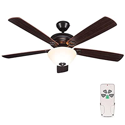 52 Inch Indoor Oil-Rubbed Bronze Ceiling Fan With Light Kits and Remote Control, Classic Style, Reversible Blades, ETL for Living room, Bedroom, Basement by Hykolity