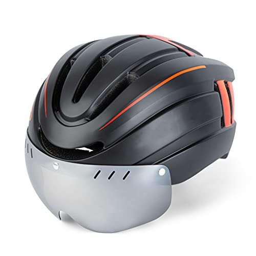 Casco para bicicleta de montaña con gafas de succión magnéticas, cascos para montar en bicicleta para mujeres y hombres adultos, luz de advertencia recargable por USB de alto brillo trasero,Orange-L
