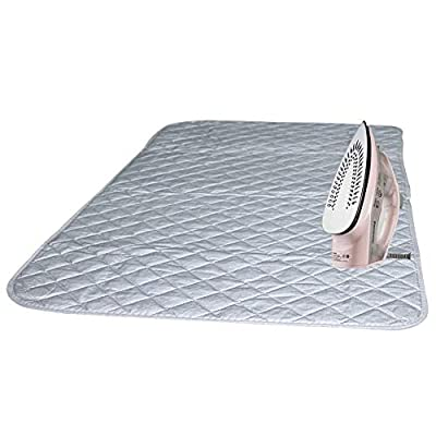 """Magnetic Ironing Mat Blanket Ironing Board Replacement,Iron Board Alternative Cover/Quilted Washer Dryer Heat Resistant Pad/Portable Ironing Board Cover/Mat Grey 33""""X 18"""""""
