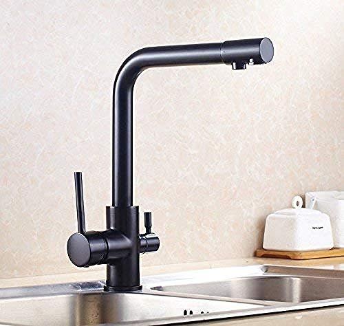 Grifo de cocina de bronce negro de latón macizo, caño doble, filtro de agua potable, grifo de cocina, grifo de triple flujo para grifo mezclador de cocina
