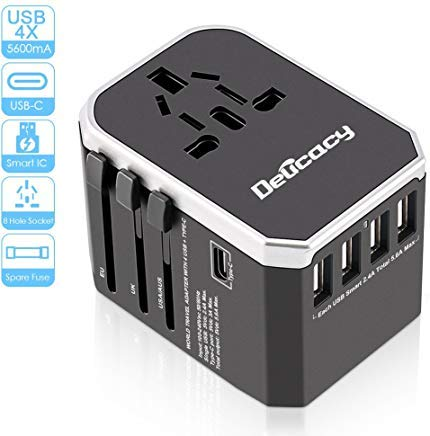 [Upgraded] Universal Travel Power Adapter,Delicacy Worldwide All in One Adapter with Fast Charging 4 USB and Type C Ports,International Wall Charger AC Plug for US EU UK AUS Cell Phone Tablet Laptop