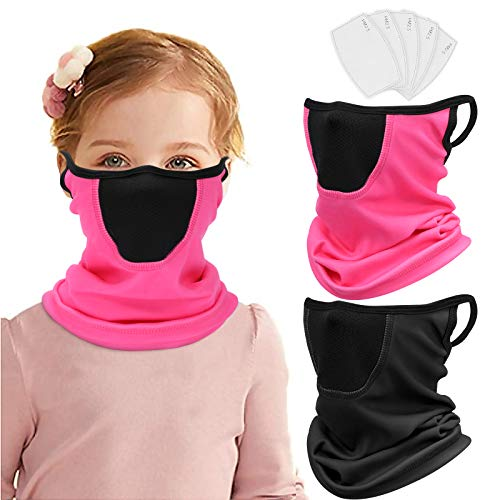 2 Pack Kids Neck Gaiter with Ear Loops Winter Neck Warmer kids Bandana with Filter Balaclava for Snow Ski Cold Weather