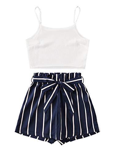SweatyRocks - Conjunto de pijama de 2 piezas sin mangas con lencería y tirantes para mujer, Azul marino y blanco, M