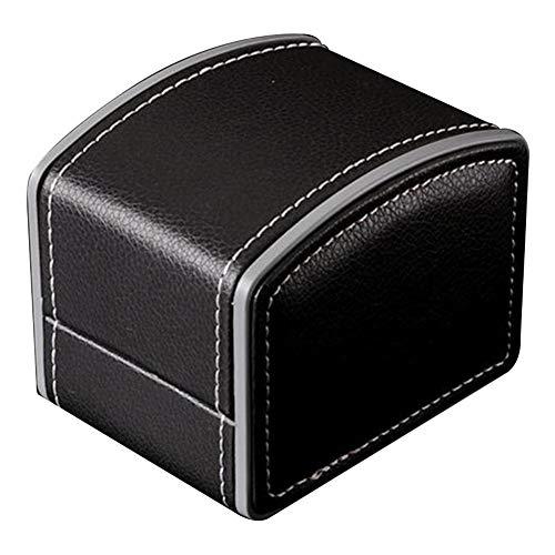 SONGAI Vintage Arc Shape Faux Leather Watch Protective Box Organizer Jewelry Decor Case,Colour Name:Red Bracelets Earrings Rings Necklaces (Color : Black)