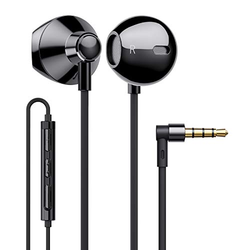 Linklike Wired Earbuds Earphones Dual Drivers in Ear Headphones Powerful Bass with 3.5mm Jack Microphone Noise Isolating and Volume Control for Music Video HD Call Gaming Android iOS, Black