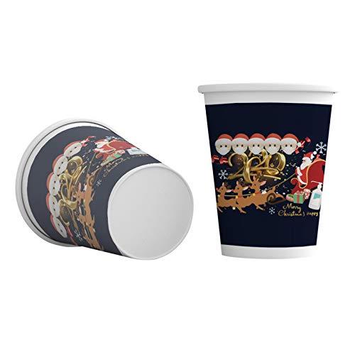 Aoliao 10/50/100 vasos de papel navideños para decoración de mesa de Navidad, para el hogar, Papá Noel, decoración de mesa de Año Nuevo