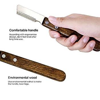 onebarleycorn - Couteau à Trimmer pour Main Droitier Couteau à dénuder Professionnel pour Chien avec Manche Ergonomique en Bois