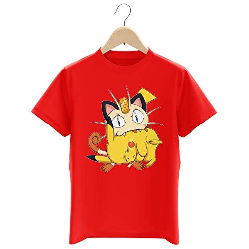 Okiwoki T-Shirt Enfant Garçon Rouge Parodie Pokémon - Pikachu et Miaouss - Le Jeu du Chat et la Souris : (T-Shirt Enfant de qualité Premium de Taille 7-8 Ans - imprimé en France)