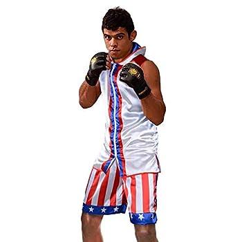 Wraith of East Men's Boxing Hoodie Kickboxing Exercise Training Gym Workout Clothing Sleeveless Sport Vest Jacket Shorts Set M