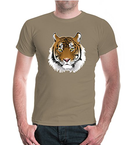 T-Shirt Tiger-Face-Emblem-M-Khaki-z-Direct
