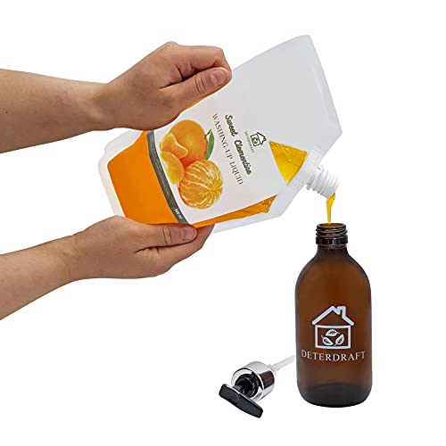 DETERDRAFT - Sweet Clementine Washing-up liquid REFILL 500ml + 1 Amber Glass Reusable Dispenser (300ml) | Eco-friendly, Sustainable and Zero Waste Cleaning Products