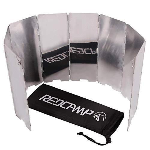 REDCAMP Faltbar Aluminium Windschutz, 8 Stücke Lamellen Leicht Klappbar Windschutzscheibe für Outdoor Camping Gaskocher Picknick BBQ Mehrweg