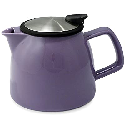 FORLIFE Bell Ceramic Teapot with Basket Infuser, 26-Ounce/770ml, Purple