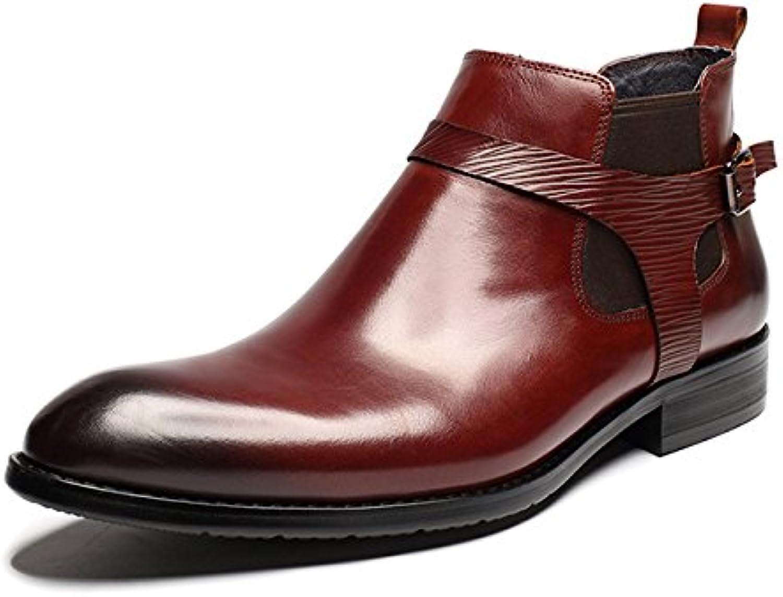 Qiusa Chelsea-Stiefel aus poliertem Lackleder für Mnner Soft Sohle Durable Comfort Stiefel (Farbe   Rot, Gre   EU 39)