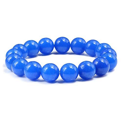 BXSZX Pulsera Cuentas de Piedra Azul 6/8/10 / 12mm Pulseras clásicas para Mujeres Charm Yoga curativo Hombres Pulsera elástica joyería de Las Parejas