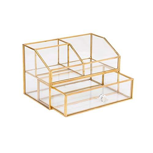 HARLIANGXY - Caja de almacenamiento cosmética - Organizador de maquillaje - Soporte para cepillo vintage hecho de metal y vidrio - Con 1 cajón de vidrio perfumería joyería bandeja organizador