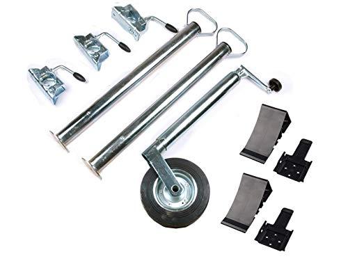 Anhänger Zubehör Set - 10 teilig - Stützrad, Stützen 700 mm, Klemmhalter, Unterlegkeile und Halter (schwarz)