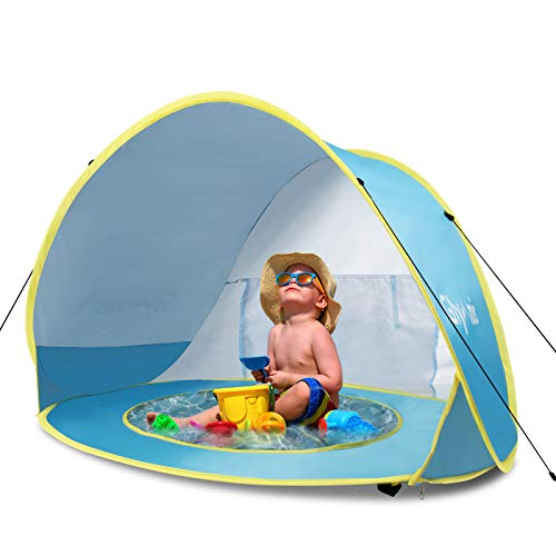 Glymnis Pop Up Baby Beach Tent Automatic Portable Lightweight UV Protection Sun Shade Shelter with Baby Pool for Family Picnic Garden(Blue)