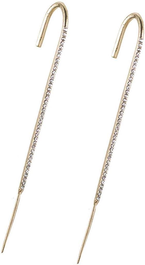 Ear Wrap Crawler Hook Earrings for Women, Cuff Climbers Earrings Rhinestone Cubic Zirconia Needle Hook Earrings Jewelry Decoration Valentine Birthday Party Gift for Women Girls