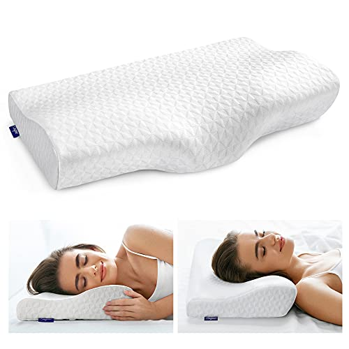 Sagino Contour Memory Foam Pillow for Neck Pain Relief, Orthopedic Cervical Support Pillows for Back, Stomach, Side Sleepers, Ergonomic Bed Pillow with 2 Washable Anti-Pilling Pillowcase (White-S)