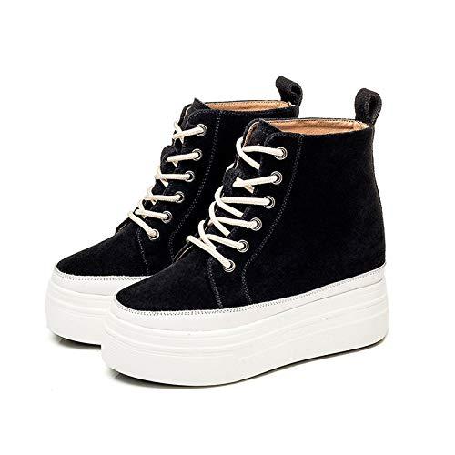 YZJYB - Botas de tobillo para mujer con forro de piel de vaca para nieve, más cachemira de invierno, botines de combate, botines de tacón alto, zapatos de piel de vaca, cómodos, para motocicleta, 39