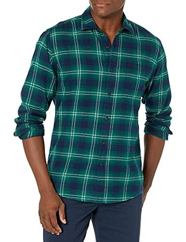 Amazon Essentials Chemise en Flanelle à Manches Longues et Coupe régulière. Button-Down-Shirts, Bleu (Navy/Green Ombre), X-Large