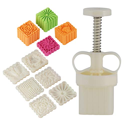 Louty Mid-Autumn Festival DIY Mooncake Mold,Cookie Press with 65g 6pcs stamps(Adjustable Thickness,Easy to Clean) (65g 3D)