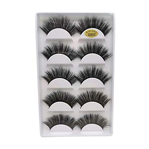 False Eyelashes 3D Stereo Eyelashes 5 Pairs of Popular Reusable Eyelashes Volumizing and Thickening Your Eyelashes
