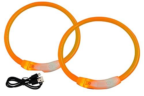2pcs 50cm USB Led Collar de Perro Luminoso con Tres Modos de luz, Ajustable, Recargable, Impermeable para Perros pequeños