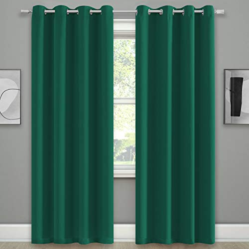 KEQIAOSUOCAI Blackout Green Window Curtains Room Darkening Blackout Xmas Green Curtain Set Thermal Insulated Grommets Drapes for Christmas Bedroom Living Room 52X84 Set of 2