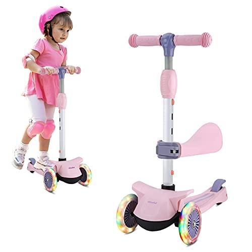 Wheelive Monopattino 3-in-1 con Sedile Rimovibile, Monopattino a 3 Ruote per Bambini, 3 monopattini con Design Pieghevole e Altezza Regolabile per Bambini seduti o in Piedi per Ragazzi e Ragazze 2-6
