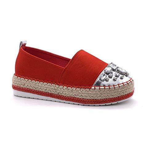 ANGKORLY - Scarpe Moda Espadrilla Slip-on Zeppa Donna Gioielli Dimante con Paglia Tacco Zeppa Piattaforma 4 CM - Rosso 4 BL263 T 41