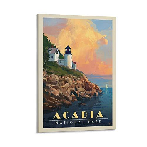 kebey Acadia National ParkLeuchtturm, Retro-Reise-Poster, dekoratives Gemälde, Leinwand, Wandkunst, Wohnzimmer, Poster, Schlafzimmer, Malerei, 50 x 75 cm
