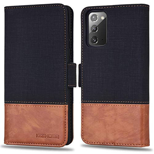 KEZiHOME Samsung Note 20 Case, PU Leather [RFID Blocking] Galaxy Note 20 5G Wallet Case Flip Folio Magnetic Cover with Card Slot and Stand Holder for Samsung Galaxy Note 20 (Black/Brown)