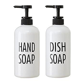 White Plastic Hand Soap & Dish Soap Dispenser Set for Kitchen Refillable Pump Bottle Plastic for Liquid Soap Shampoo Body Wash Rustic Farmhouse Kitchen Counter Decor and Organization