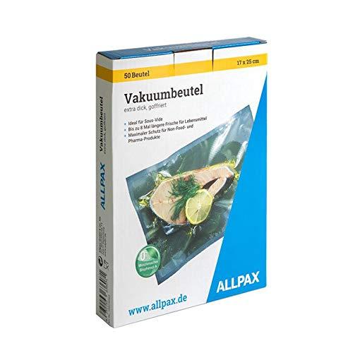 Vakuumierbeutel im Karton, 17 x 25 cm, 50 Stück, extra dick, mit Prägung- goffriert (für kammerlose Vakuumierer) - Lebensmittelecht, ohne Weichmacher - Materialstärke 150 µm